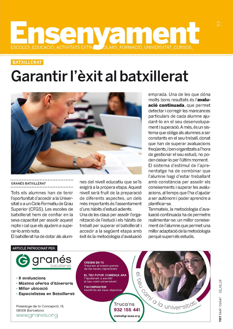 2on article Granés Batxillerat Tot Sant Cugat 22-02-13